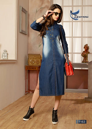 Washed  Denim Side Slit Cold Shoulder Kurti