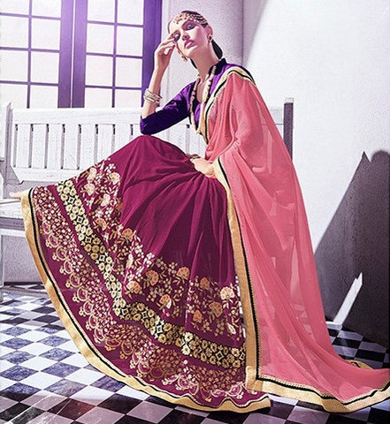 Pink And Purple Georgette Jacquard Saree With Raw Silk Blouse