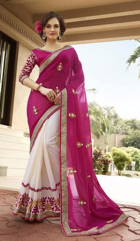 Red , Beige,Georgette,Buy designer georgette saree with embroidery work