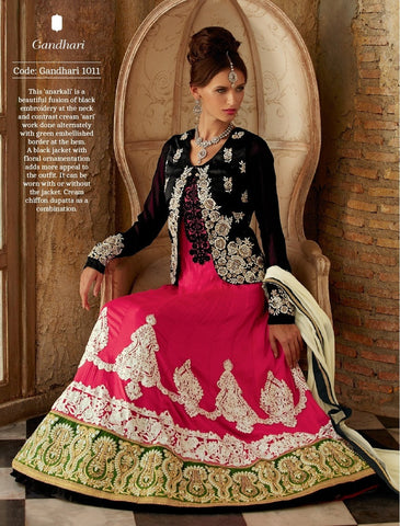 Anarkali suits Black & pink,Manipur silk