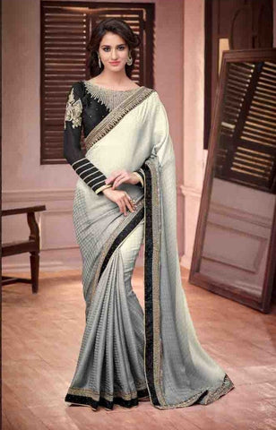 Silver screem saree 13011