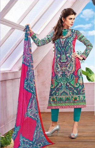 Printed straight knee length salwar suits dress material with pink dupatta
