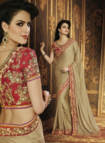 Saree :Jeq Bamber Sari With Art Silk Net Blouse,Saree : Beige,Blouse : Red