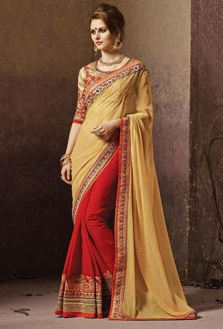 Golden brown saree with golden blouse