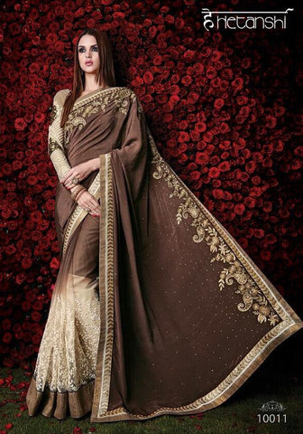 Designer beige and brown saree for parties, wedding and occasion