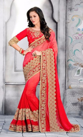 Red,Jaquard,Heavy designer party wear saree