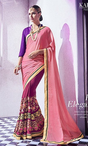Pink,Georgette,Jacquard,Party wear designer heavy saree