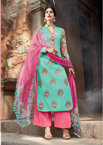 Cyan , Pink,cotton,Straight designer party wear suits