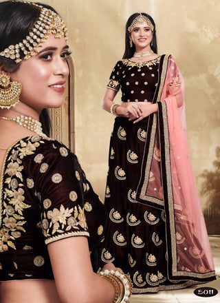 Brown Velvet Party Wear Lehenga With Pink Dupatta
