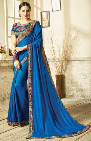 Blue Two Tone Silk Saree With Blue Blouse