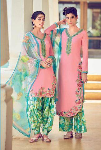 Pink , Green,Cotton,Patiyala suits designer suits
