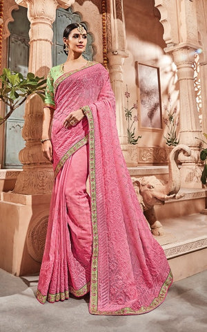 4239ddea07109e Pink Georgette Party Wear Saree With Green Blouse