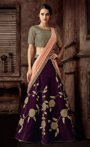 Wine Velvet Party Wear Lehenga With Peach Dupatta