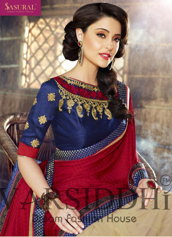 Multicolored red beige and blue saree of soft net