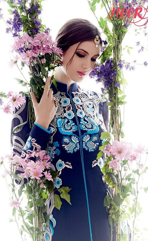 Designer Blue Embroidered Straight Suits for parties