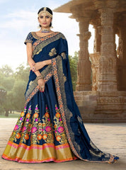 Blue Banarsi Jacquard Party Wear Lehenga With Blue Choli