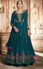Cyan Georgette Party Wear Anarkali Dress With Cyan Dupatta