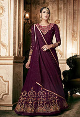 Wine Georgette Party Wear Anarkali Dress With Wine Dupatta