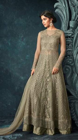 Olive Grey(Green) Net Heavy Anarkali With Olive Grey Dupatta