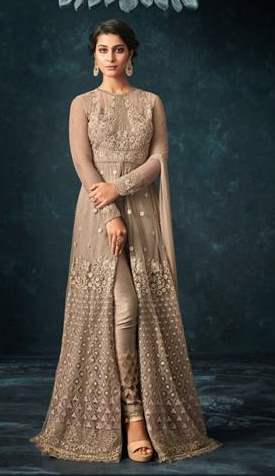Beige Net Heavy Anarkali Suit With Beige Dupatta