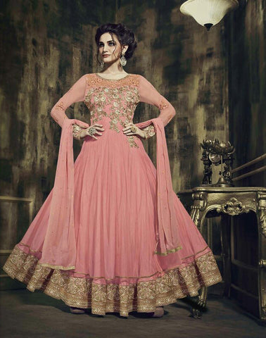 Georgette , Rasal Net,Pink,heavy designer party wear suits