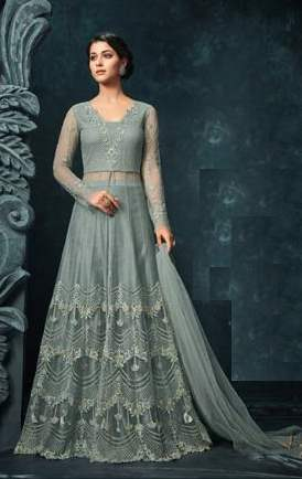 Greish Blue Net Heavy Anarkali Dress With Greish Blue Dupatta