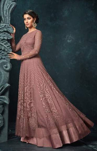 Pink Net Heavy Anarkali Suit With Pink Dupatta