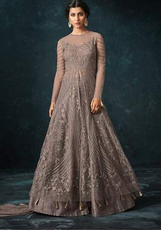 Grey Net Heavy Anarkali Suit With Grey Dupatta