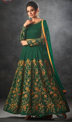 Green Silk Party Wear  Anarkali Suit With Green Dupatta