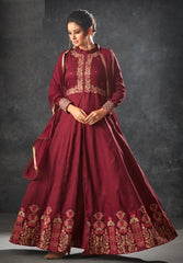 Maroon Silk Party Wear  Anarkali With Maroon Dupatta