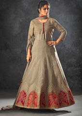 Grey Silk Party Wear  Anarkali Dress With Grey Dupatta