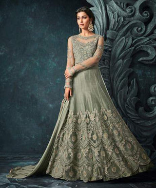 Green Net Heavy Anarkali Dress With Green Dupatta