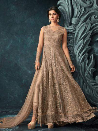 Golden Net Heavy Anarkali With Golden Dupatta
