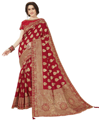 Red Banarasi Silk Party Wear Saree With Red Blouse