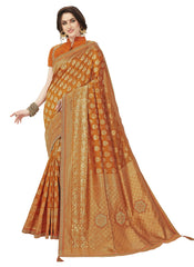Orange Banarasi Silk Party Wear Saree With Orange Blouse