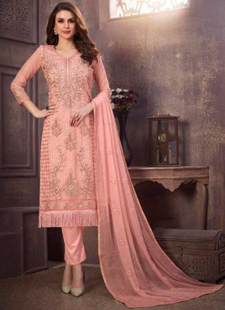 Pink Organza Party Wear Salwar Kameez With  Dupatta