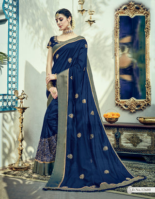 Blue Two Tone Silk Saree With Bloluse