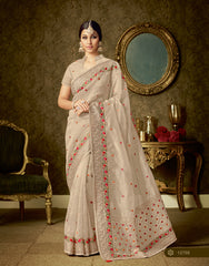 Beige Organza Party Wear  Saree With Blouse