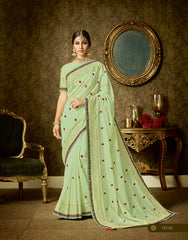 Lime Green Organza Party Wear  Saree With Blouse