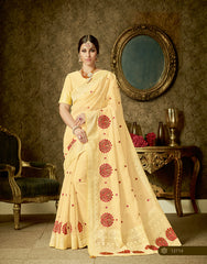 Yellow Organza Party Wear  Saree With Blouse