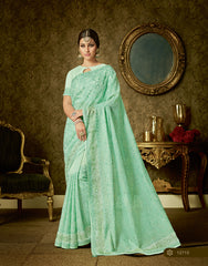 Sea Green Organza Party Wear  Saree With Blouse