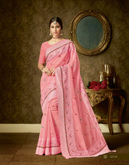 Pink Organza Party Wear  Saree With Blouse