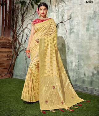 Yellow Dual Tone Raw Silk Party Wear Saree With Orange Blouse
