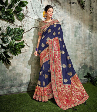 Blue Brocade Party Wear Saree With Gold Blouse