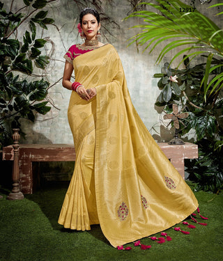 Yellow Raw Silk Party Wear Saree With Pink Blouse