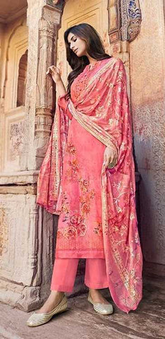 Pink Cotton Muslin Party Wear Salwar Kameez With  Dupatta