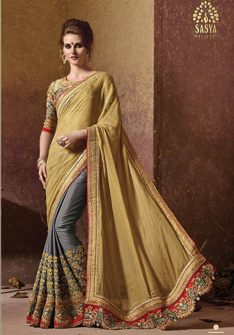 Designer grey and golden brown saree with work