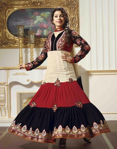 Designer anarkali long multicolor suits with heavy embroidered full suits