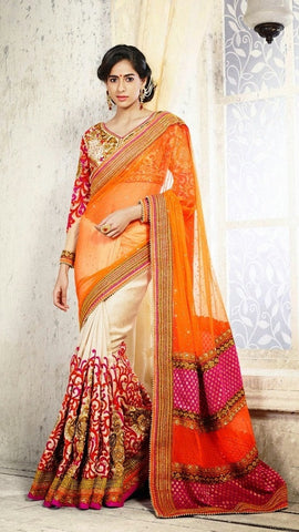 saree Cream&Orange,Cream