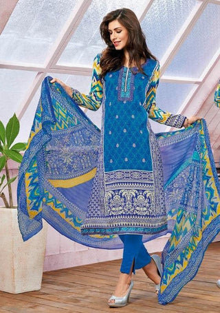 Blue printed straight knee length salwar suits dress material